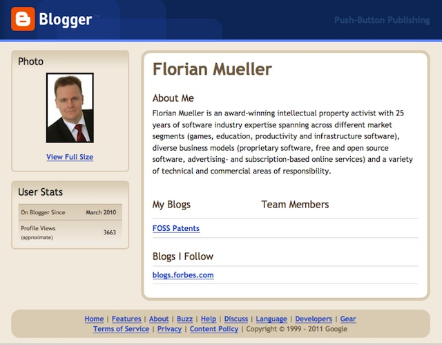 Florian Müller Profile on Blogger