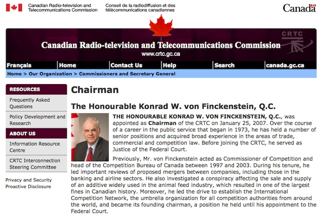 Profile of Konrad von Finckenstein from the CRTC Website