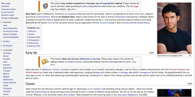 Zack Heart Wikipedia Page