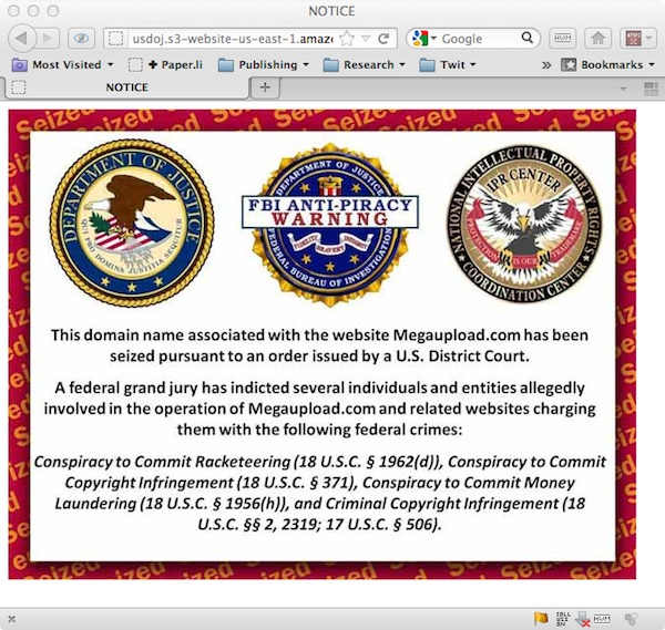 MegaUpload FBI Anti-Piracy Warning